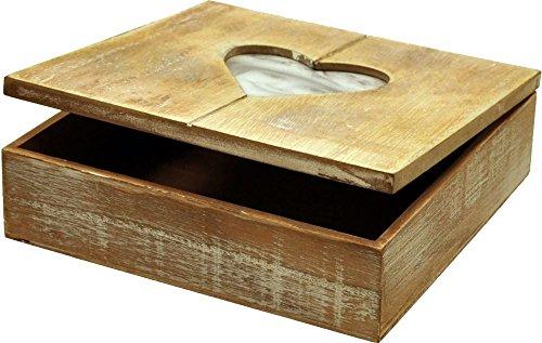 Rivanto Holz-Geschenkbox mit Herz-Bilderrahmen, Fotobox, Holzbox ,Holzschatulle, Holzschachtel, Schmuckkästchen mit Herzmotiv, 20 x 20 x 6 cm, verbesserte Qualität, verbesserte Version 2018