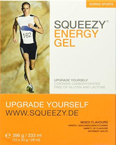 Squeezy Sports Nutrition Energy Gel Box 12 Beutel 33 g Gemischte Geschmäcker, 1er Pack (1 x 396 g)