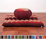 Meditationsset: Meditationskissen Zafu 40x20cm, Meditationsmatte Zabuton 76x72cm (rot)