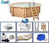 Paradies Pool Holzpool Bali Komplettset inkl. Zubehör, Edelstahlleiter, Sandfilteranlage, Schwimmbad für den Garten, Badespaß für die ganze Familie, Achteck-Pool, 440 x 136 (Ø x H), Menge: 1 Stück