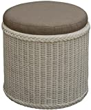 korb.outlet Rattan Bad Hocker Wäschekorb Rund Weiß mit Sitzfläche gepolstert Wäsche Korb mit Sitz Wäschesammler Badhocker