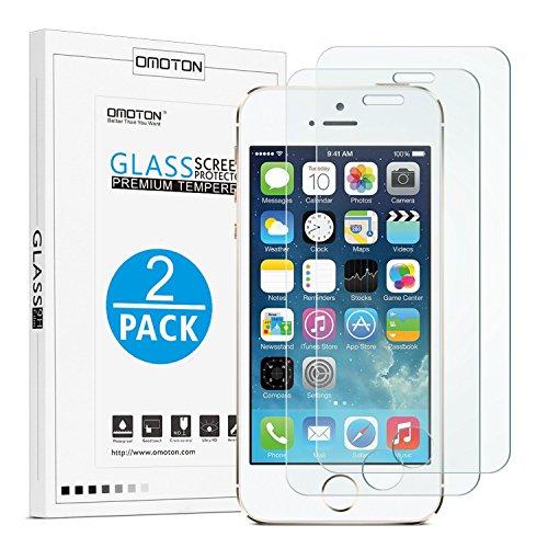 [2 Stück] OMOTON Panzerglas Displayschutzfolie für iPhone se/5s, 9H Härte, Anti-Kratzen, Anti-Öl, Anti-Bläschen, lebenslange Garantie