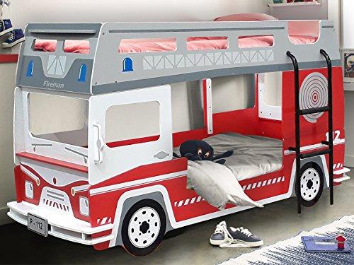Etagenbett Hochbett Kinderbett Motivbett Autobett Bett Kindermöbel 'Feuerwehr I'