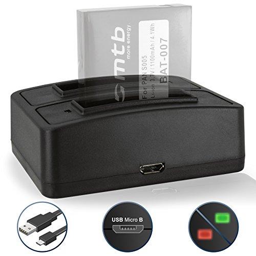 Dual-Ladegerät (USB) für Panasonic CGA-S005(E/1C), DMW-BCC12E / Fuji NP-70 / Leica BP-DC4 / Ricoh DB-60 / Kodak LB-080 - Kompatible Modelle s. Liste!