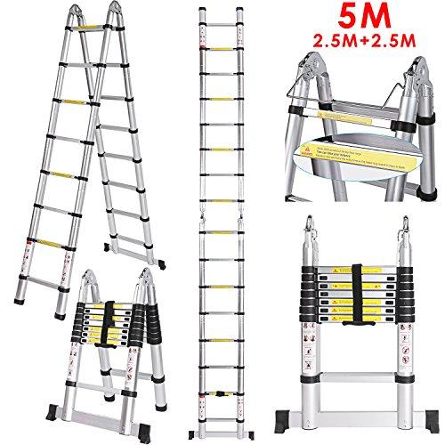 5 M Teleskopleiter Auszeihleiter aus Hochwertigem Aluminium Leiter Aluleiter Mehrzweckleiter Teleskop Design bis 150 Kg Belastbar (5 M 2.5+2.5)