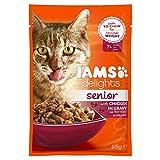 Iams Delights Senior Nassfutter (für ältere Katzen ab 7 Jahre mit viel Huhn in Sauce, Multibox), 12 Frischebeutel (12 x 85 g)