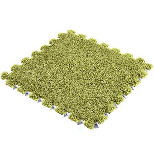 JYCRA ineinandergreifende Schaumstoff MATTEN, 9Flauschig Gummibodenmatte Teppich Fliesen Plüsch Bereich Teppich Ideal für Kinderzimmer Dekor, Baby Raum, Spielzimmer und Kinder, PEA Green, 9Pack