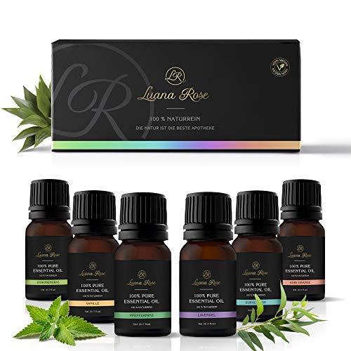 Luana Rose Ätherische Öle Set - 100% Vegan & Naturrein - 6 x 10 ml Lufterfrischer Öl Aroma - Duftöle für Diffuser & Aromaöl für Aromatherapie - Vanille Orange Lavendel Eucalyptus Pfefferminze Zitrone