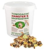 Hamsterfutter mit tierischem Eiweiß, Alleinfuttermittel für Hamster mit Bachflohkrebsen (Gammarus), leckerem Gemüse, Körnern und Saaten, Tomodachi Hamster's Goldfrühstück 1kg Eimer