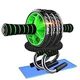 DOBEN Bauchtrainer Ab Roller mit Kniepolster - 2 Liegestützgriffe/Push up Stand, 2 Resistance Bands Fitnessbänder