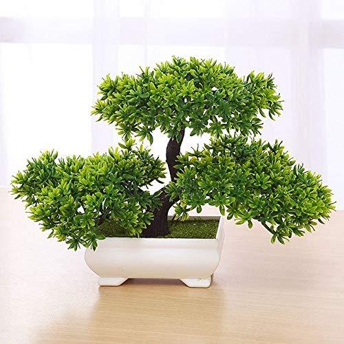 Zunbo Bonsai Pflanze, Kunstpflanze Künstlicher Bonsai-Baum Kiefer Kunststoff für Büro/Fensterbank/Hof (Grün)