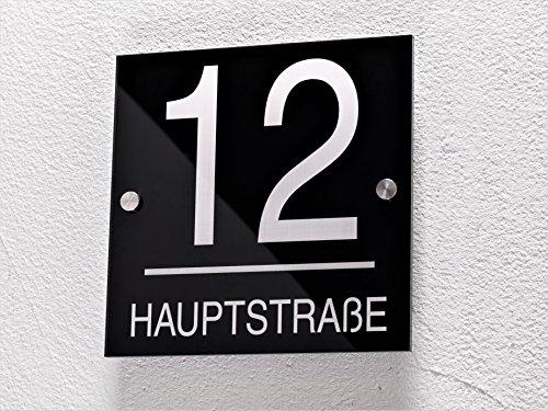 Hausnummer / Familienschild mit Gravur aus Hochglanz-Acrylglas in schwarz oder anthrazit - sofort personalisierbar ! Lasergravur (kein Druck!) Familien-Haus / Garten / Namensschild / Firmenschild (Hausnummer quadratisch)