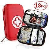 Erste Hilfe Set, Mini First Aid Kit für Notfälle in der Familie - Ideal für Zuhause Auto Reisen Camping und Outdoor Aktivitäten, 18 Stück in Roter Halbharte Tasche JAANY