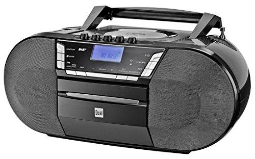 Dual DAB-P 200 Kassettenradio mit CD - DAB(+)/UKW-Radio - Boombox - CD-Player - Stereo Lautsprecher - USB-Anschluss - Aux-Eingang - Netz- / Batteriebetrieb - Tragbar Schwarz