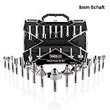 Fräser-Set, TACKLIFE 20 Oberfräser Set, 16 teilig Fräser mit 4Pcs Lager-Set, Inbusschlüssel, 8 mm Werkzeughalter, hergestellt von C3/ YG6X, Holzbearbeitungswerkzeuge für Heimwerker und DIY -ARB03C