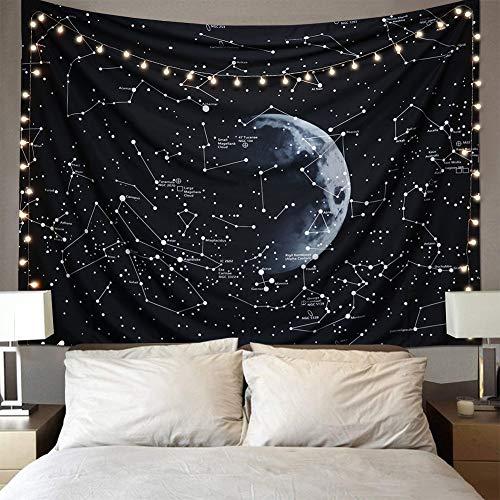 Dremisland Hippe Wandteppiche Tapisserie Psychedelic Konstellation Galaxis Raum Tapisserie Wandbehang SchwarzL für Schlafzimmer Wohnheim Dekor(M/130CMx150CM)