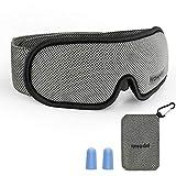 Schlafmaske Damen und Herren, HOMMINI Schlafbrille Augenmaske mit Verstellbarem Band 100% Licht blockierend für Reisen, Schichtarbeit und Nickerchen, Inklusive Ohrstöpseln