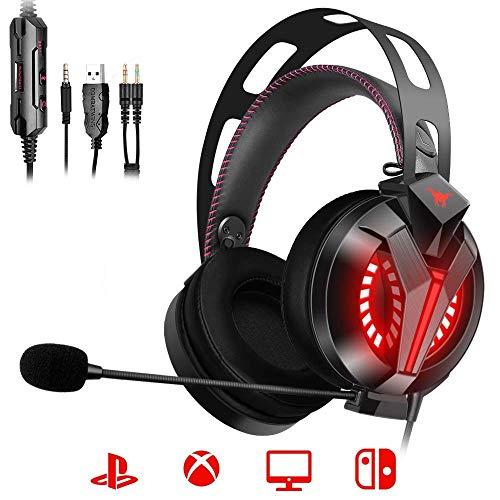 ONIKUMA PS4 Gaming Headset - Gaming Headset PC, Spiel-Headset mit lärmreduziertem Mikrofon, Leichtgewichtige Over-Ear Kopfhörer mit LED, Mikrofon Lautstärkeregler für PS4 Xbox One PC Switch