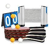 Xddias Sport Tischtennis Set, 4 Tischtennisschläger/Schläger + Ausziehbare Tischtennisnetz + Score Karte +6 Bälle, Schläger Set für Anfänger, Familien und Profis