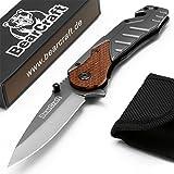 BearCraft Klappmesser | Outdoor Survival Taschenmesser mit Holzeinsatz | Kleines Einhand Messer aus Edelstahl | Ideal einsetzbar für Freizeit Arbeit Wandern Camping