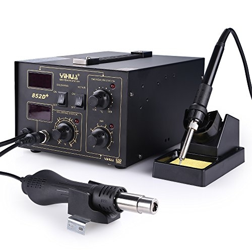 AGM 700W Lötstation 852D, 2 in 1 Heißluft-Entlötstation elektronisch temperaturgesteuert, LCD-Anzeige,650W Heißluftpistole 100~500℃ und 45W Lötkolben 200~480℃