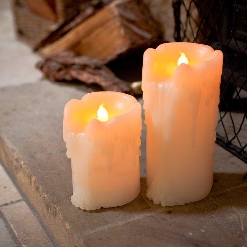 2er Set LED Echtwachs Kerzen mit Wachstropfen mit Timer Lights4fun