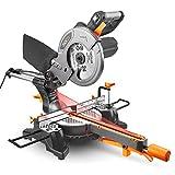 Gehrungssäge, 1500W, Tacklife PMS01X Kappsäge mit Laser, 4500rpm,Einstellbarer Schnittwinkel 0-45 °, Einstellbare Basis im und gegen den Uhrzeigersinn 0 - 45°, mit Kreissägeblatt, hohe Schnittkapazität