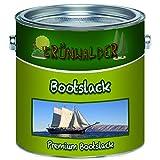 Grünwalder Bootslack für Holz und Metall premium YachtlackPolyurethanlack verstärkte Bootsfarbe Parkettlack (1 L, Farblos)