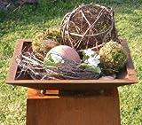 Rost Metall Pflanzschale auf Kugeln, eckige beflanzbare Rost Schale eckig für Ihre Garten Dekoration, Edelrost