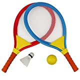 Akokie Tennisschläger Set, Federball Kinder Badminton Racket Set, Spielzeug Draussen Strand Spielzeug für Kinder ab 3 Jahren