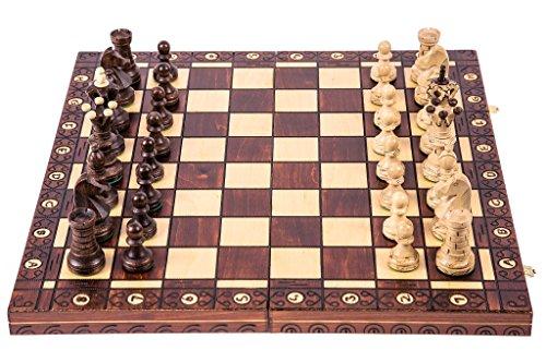 Schach Schachspiel - AMBASADOR LUX - 52 x 52 cm - Schachfiguren & Schachbrett aus Holz