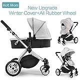 Hot Mom Multi Kinderwagen Kombikinderwagen 2 in 1 mit Windschutz 2018 neues Design - Grey
