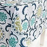 X-Labor Abwaschbar Tischdecke Eckig Wasserdicht Oxford Stoff Tischtuch Tischwäsche Pflegeleicht Garten Zimmer Tischdekoration Blau 100 * 140cm
