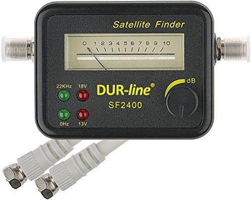 DUR-line SF 2400 - Satfinder - Messgerät zur exakten Justierung Ihrer Digitalen Satelliten-Antenne - mit hoher Eingangsempfindlichkeit - inkl. F-Kabel