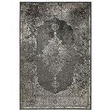 Kunstseide Teppich Vintage Ornament - Anthrazit oder Silber | klassisches Muster modern interpretiert | ultra leichter und softer Flor mit edlem Seidenglanz , Farbe:Anthrazit, Größe:160 x 230 cm