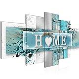 Bilder Home Herz Wandbild 100 x 50 cm Vlies - Leinwand Bild XXL Format Wandbilder Wohnzimmer Wohnung Deko Kunstdrucke Violett 5 Teilig - Made IN Germany - Fertig zum Aufhängen 504552c