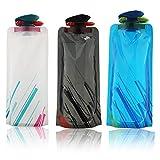 Vegena Faltbarer Wasser-Flaschen-Satz von 3, Unisex Adult 700ML Zusammenklappbare Flexible Wiederverwendbare Wasserflasche zum Wandern, Abenteuer, Reisen