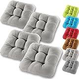 Gräfenstayn 4er-Set Sitzkissen Stuhlkissen 40x40x8cm für Indoor und Outdoor - Bezug aus 100% Baumwolle - Verschiedene Farben - Dicke Polsterung Steppkissen/Bodenkissen (Grau)