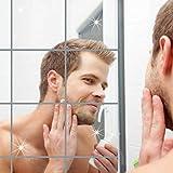 16PCS Wandspiegel Spiegelfolie selbstklebend Zuhause dekorative Wand setzt reflektierende Aufkleber Fliesen PET Square Dekor Folie 5,9 x 5,9 Zoll für Badezimmer-Umkleidekabine