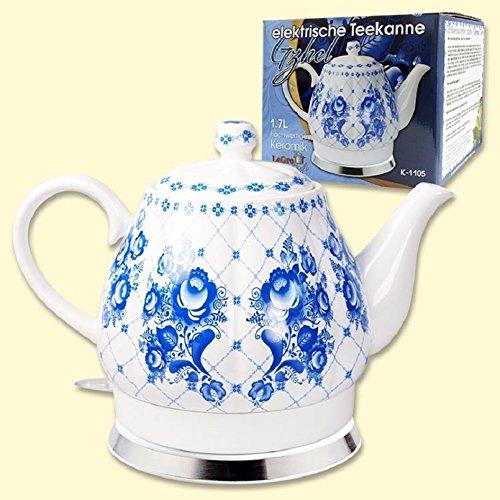 Design Porzellan Wasserkocher Gzhel 1,7L. elektrische Teekanne Keramik фарфор