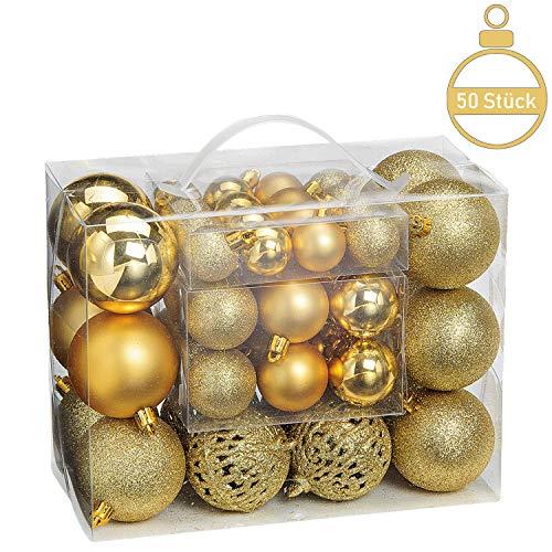 WOMA Christbaumkugeln Set in 10 weihnachtlichen Farben - 50 & 100 Weihnachtskugeln aus Kunststoff - Gold, Silber, Rot & Bronze/Kupfer + 6 - Weihnachtsbaum Deko & Christbaumschmuck