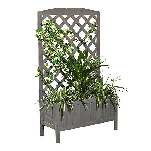 Melko Rankkasten Blumenständer Rankhilfe, 72 x 30 x 120 cm, aus Holz, Grau, inklusive 1 Blumenkübel / Blumenkasten