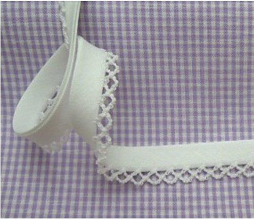 5m Schrägband mit Häkelborte uni weiß 2 Meterware