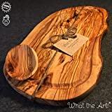 What the Art! Olive Wood | Olivenholzbrett inkl. Schälchen + Geschenk | Gr. L | ca. 40-42cm x 23-26cm x 2cm | Schneidebrett - Holzbrett - Hackbrett - Tranchierbrett - Servierbrett - Küchenbrett