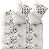 CelinaTex Fashion Bettwäsche 135 x 200 cm 4teilig Baumwolle Fancy Blumen Weiß Schwarz Grau