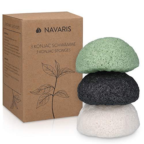 Navaris 3x Konjac Schwamm - Gesichtsschwamm Reinigungsschwamm - Schwämme für unreine normale sensible Haut - vegan pH-neutral natürlich - 3 Stück
