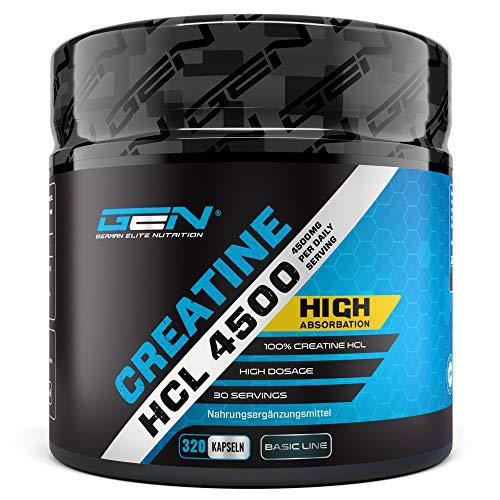 Creatine HCL 4500-320 Kapseln mit je 750 mg - Hochdosiert mit 4500 mg pro Tag - Kreatin Hydrochlorid für eine verbesserte Aufnahme - Premium Creatin Verbindung