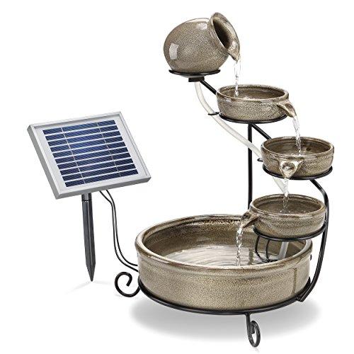 Solar Kaskadenbrunnen mit Akkuspeicher und LED Beleuchtung, 2 Watt Solarmodul, verschleißarme elektronische Pumpe, robust und langlebig, Springbrunnen Wasserspiel Zierbrunnen, Abmessungen gesamt (LxBxH): ca. 31 x 31 x 55 cm, esotec 101300