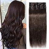 TESS Clip in Echthaar Extensions Dunkelbraun #2 Remy Haar Extensions guenstig Haarverlängerung 18 Clips 8 Tressen Lang Glatt, 12'(30cm)-55g