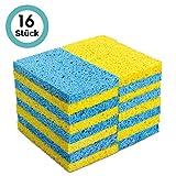 MASTERTOP 16 Stück Wasseraufnahme Schwämmen Reinigungsschwamm Spülschwamm aus Zellulossaugfähig feine Poren für Küche Multifunktionale Geschirrspülschwämme Gelb und Blau